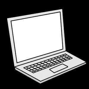 開いたノートパソコンのイラスト