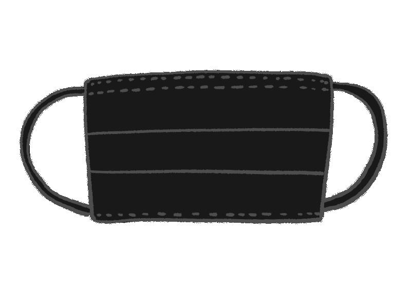 黒い使い捨てマスクのイラスト