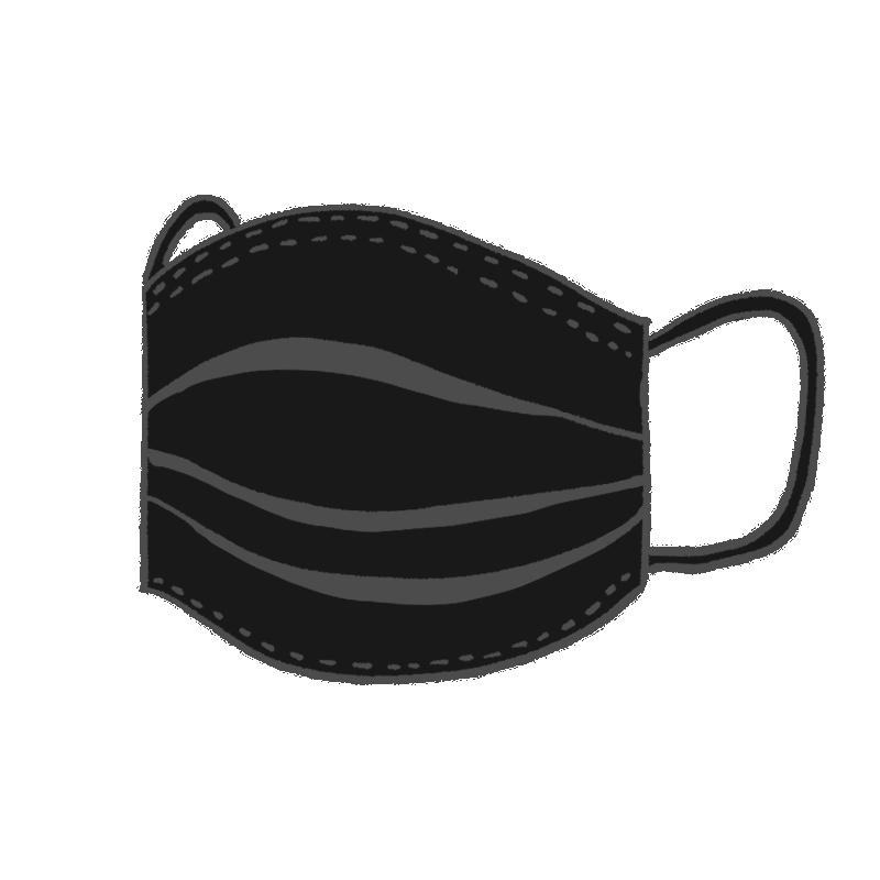 立体になっている使い捨ての黒いマスクのイラスト