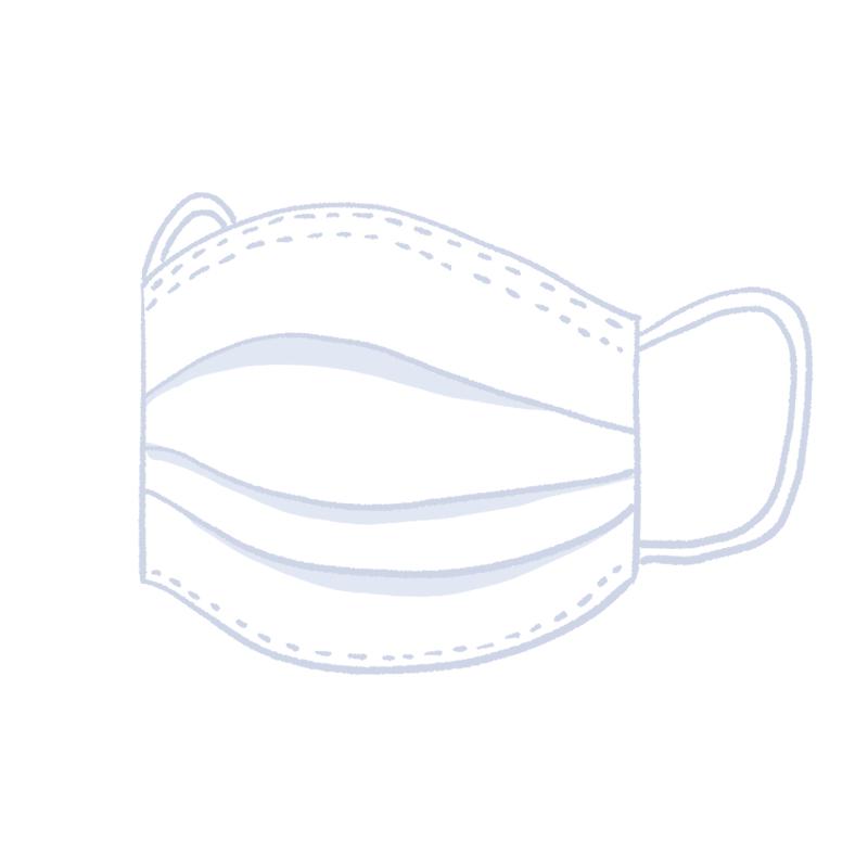 立体になっている使い捨ての白いマスクのイラスト