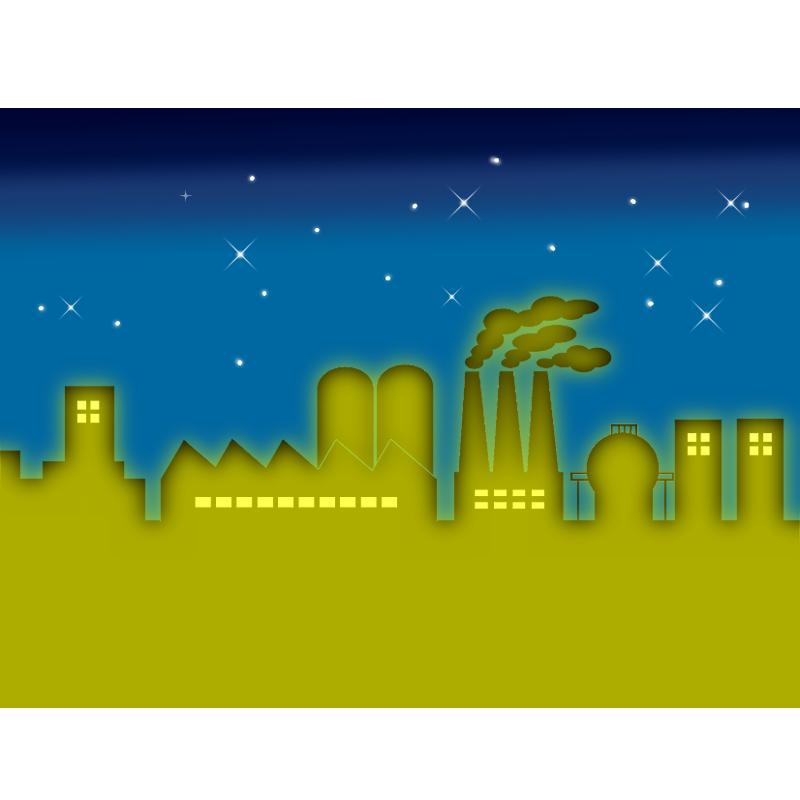 工場夜景のイラスト