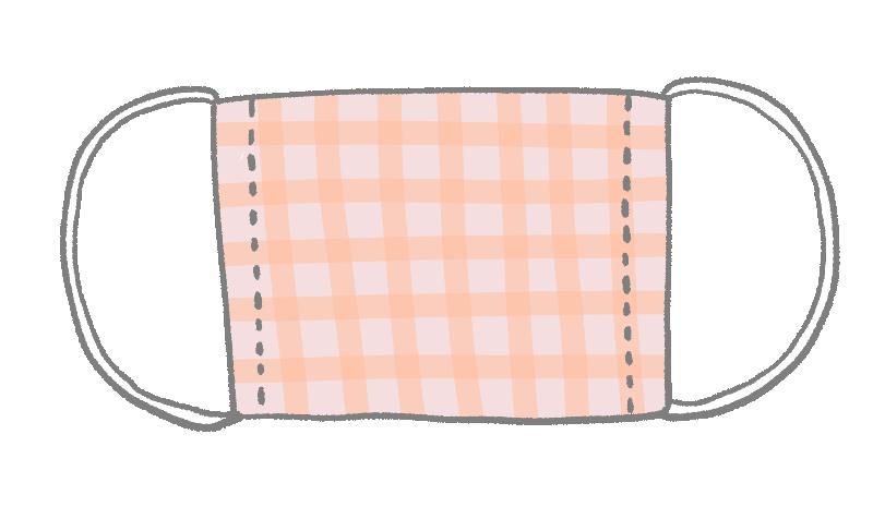 チェック柄の布マスクのイラスト