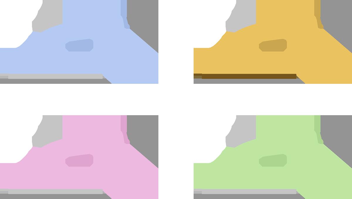 いろんな色のアイロンをまとめたイラスト