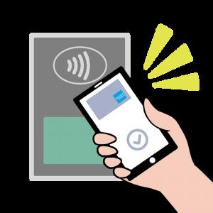 Apple Payでコンタクトレス決済(アメックス風)のイラスト