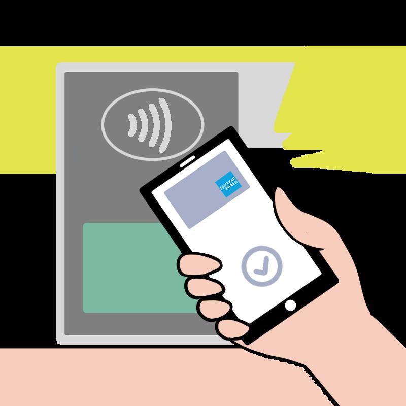 Apple PayのAMEXコンタクトレスで支払うイメージのイラスト