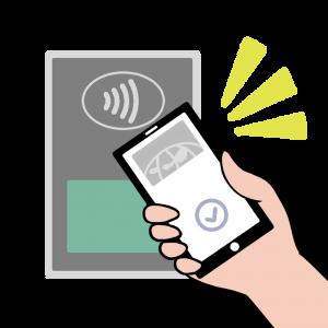 Apple Payでコンタクトレス決済(ダイナース風)のイラスト