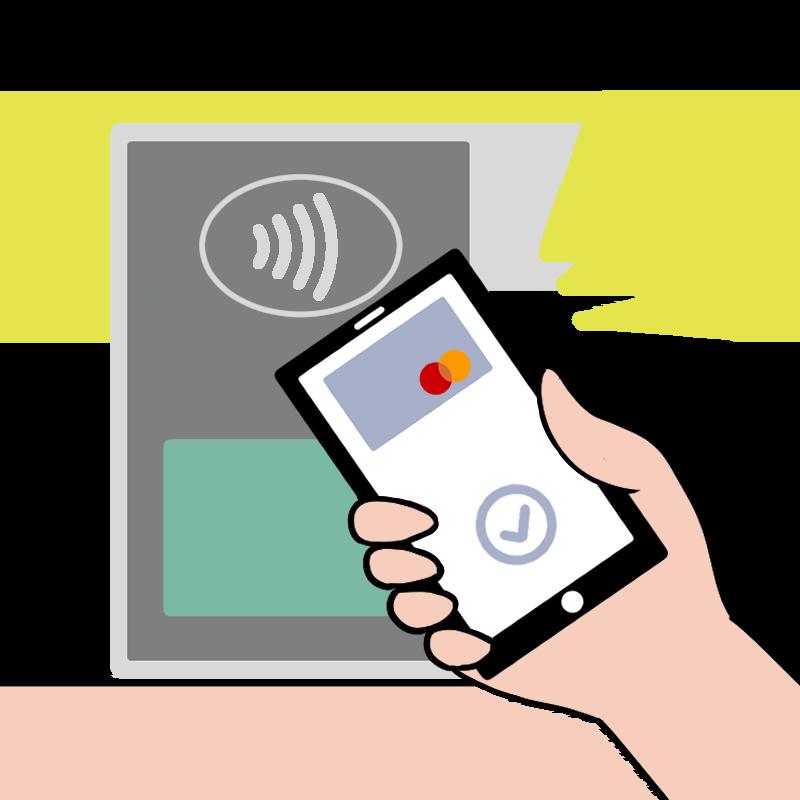 Apple PayでMastercardコンタクトレス支払いするイラスト