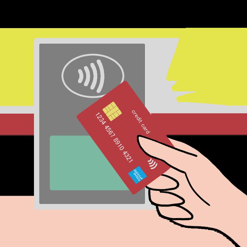 カード払いでのAMEXコンタクトレスをイメージしたイラスト