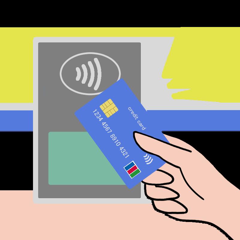 カード払いでのJCB Contactlessをイメージしたイラスト