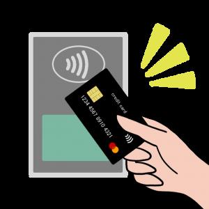 カードでコンタクトレス決済(マスターカード風)のイラスト