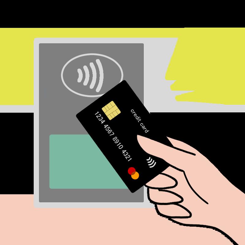 カード払いでのMastercardコンタクトレスをイメージしたイラスト