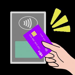 カードでコンタクトレス決済(VISA風)のイラスト