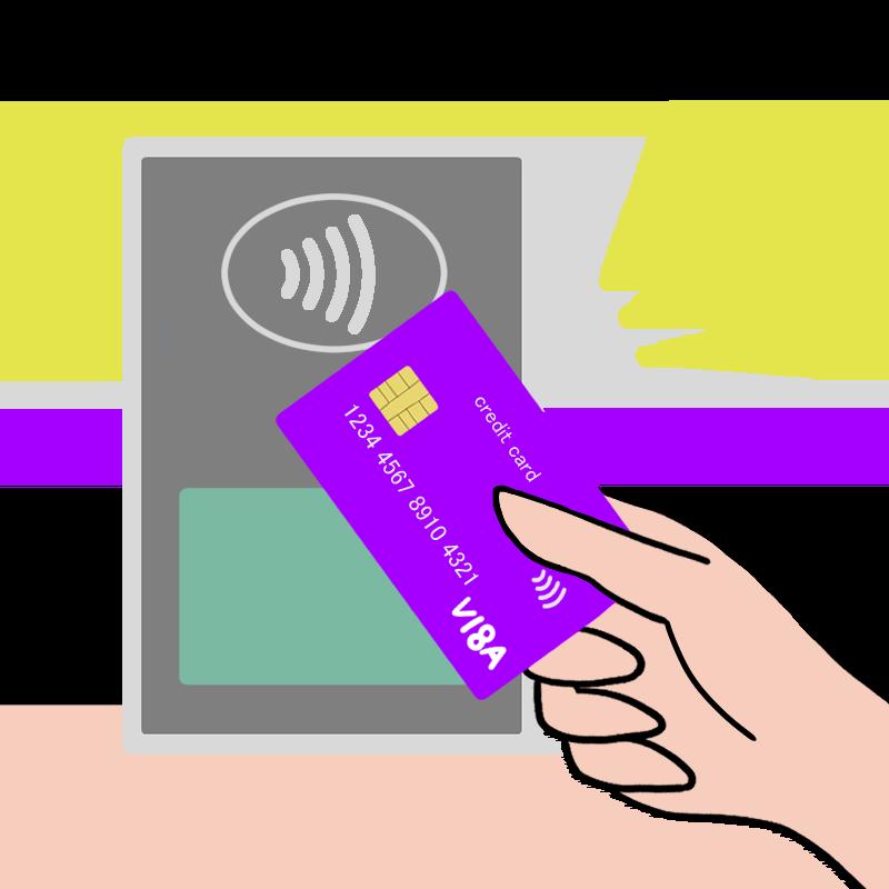VISA payWave(コンタクトレス)で支払っている様子をイメージしたイラスト