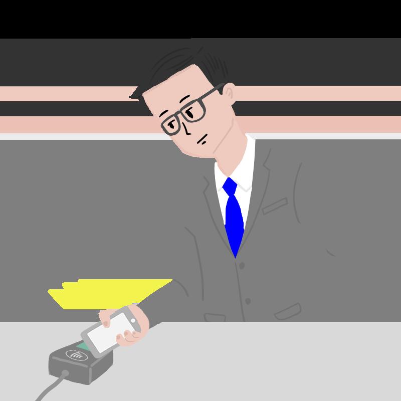 Apple Payでコンタクトレス決済するサラリーマンのイラスト