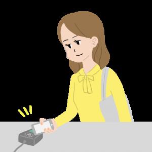 Apple Payでコンタクトレス決済する女性のイラスト