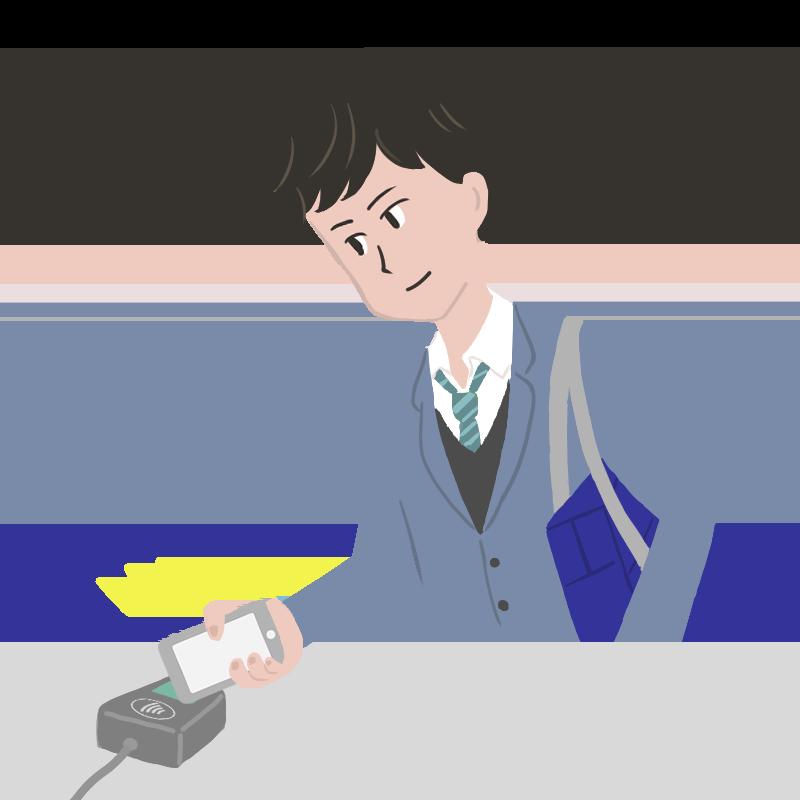Apple Payでコンタクトレス決済する男子高校生のイラスト