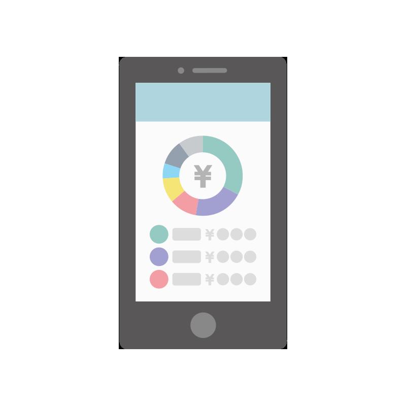 家計簿アプリで内訳を見ているイラスト