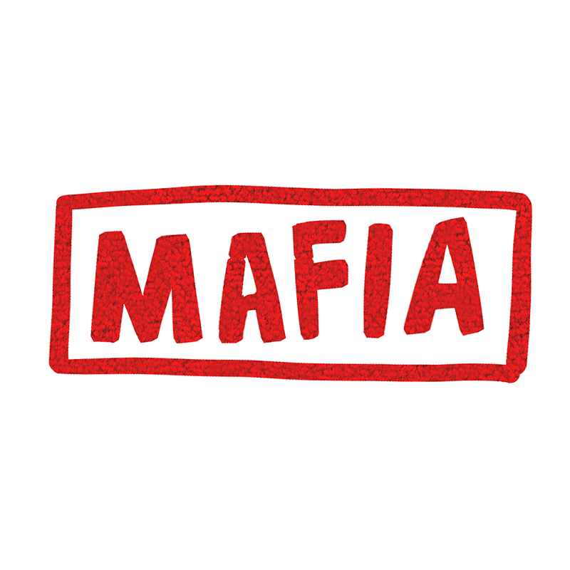マフィアと書いてある文字のイラスト