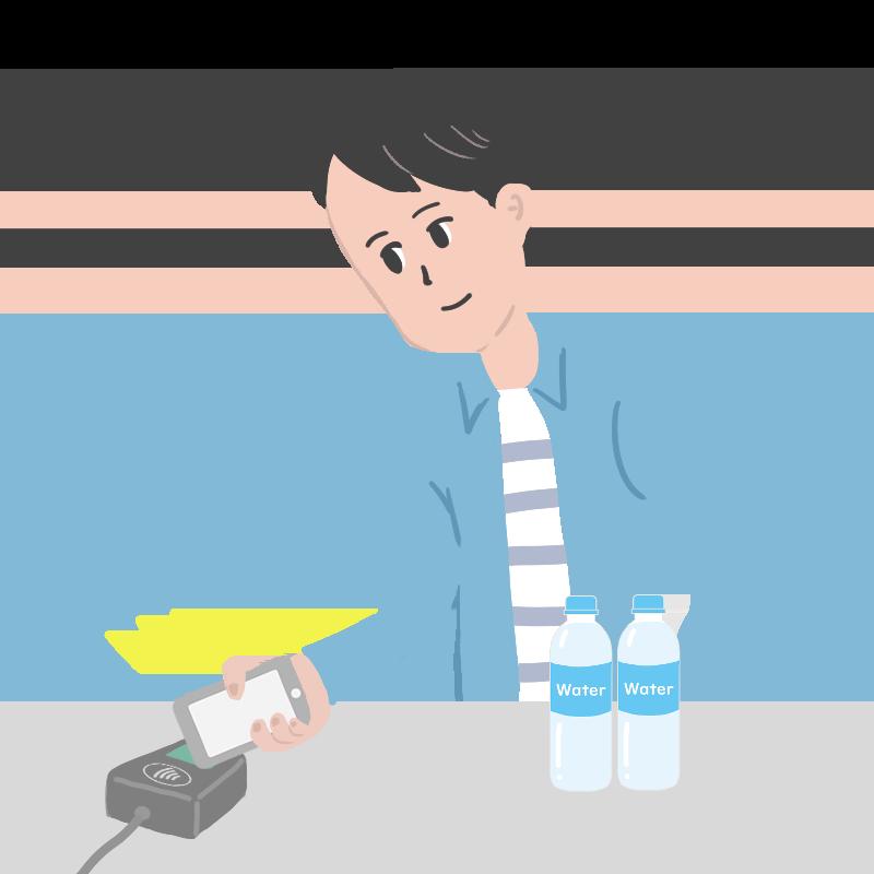Apple Payでコンタクトレス決済する男性のイラスト