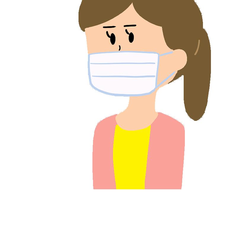 マスクをする働く女性(OL)のイラスト