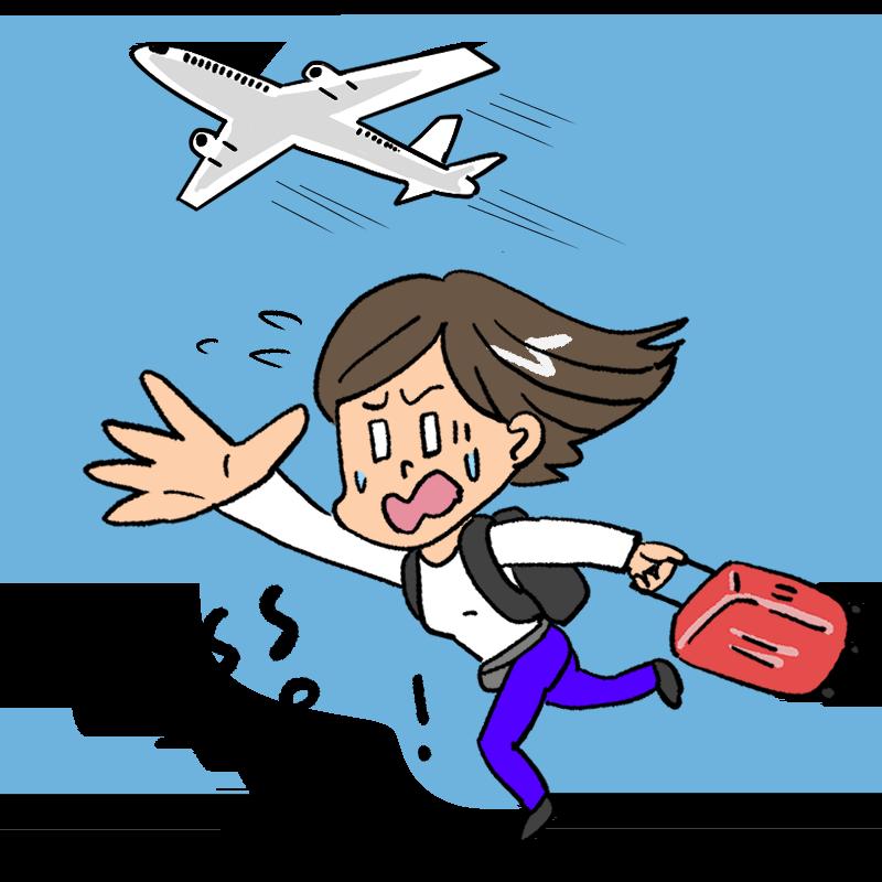旅行中に飛行機に乗り遅れる女性のイラスト