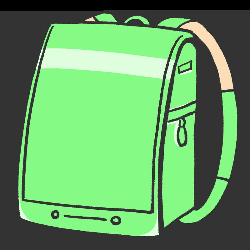 緑色のランドセルのイラスト
