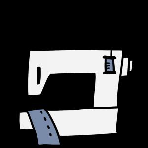 後ろ向きのミシンのイラスト