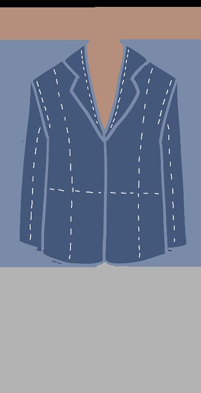 制作中(しつけ付き)のテーラージャケットのイラスト
