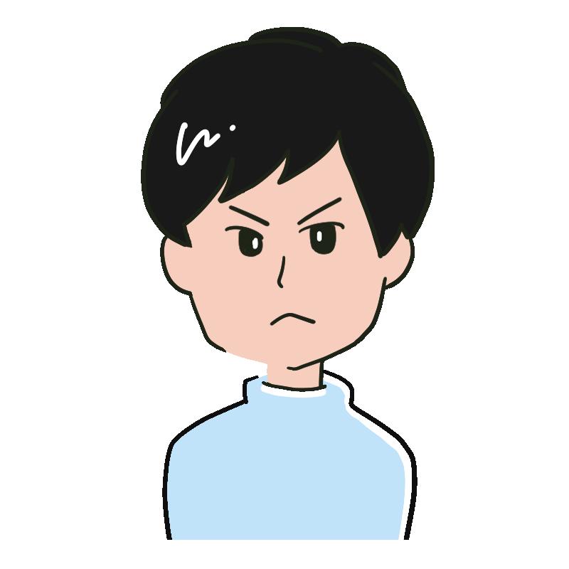 怒っている表情の若い男性のイラスト