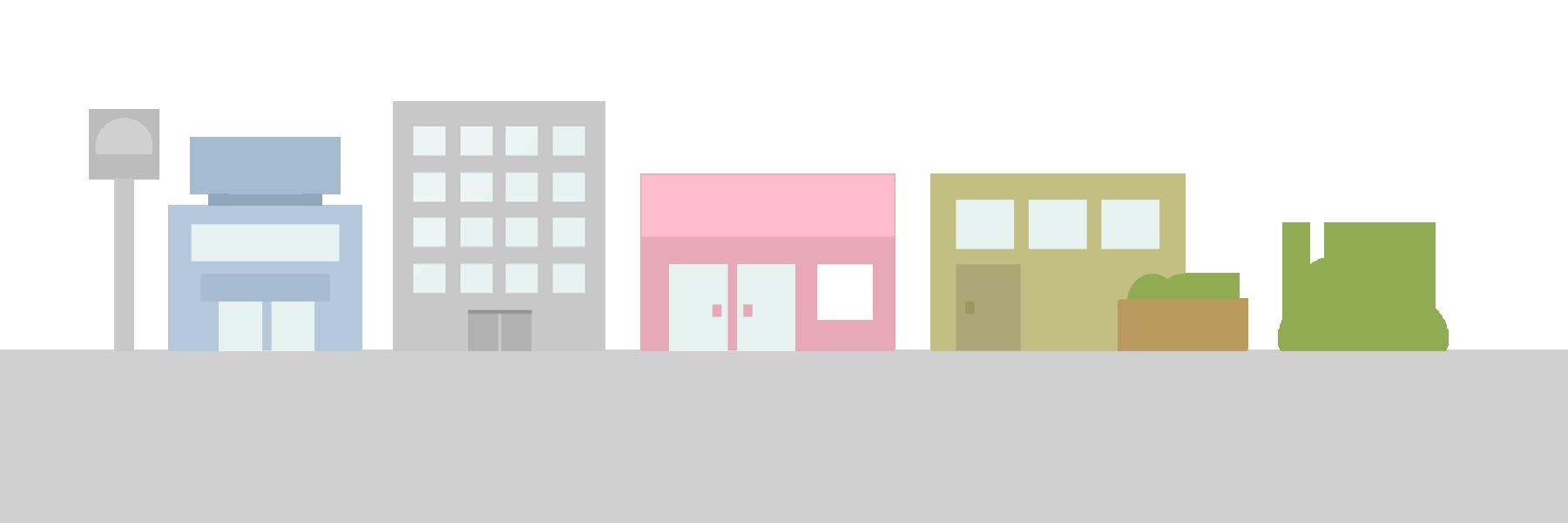 ビルやお店・商業施設が並んでいるイラスト