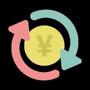 カラフルな自動積立・投資のマークのイラスト
