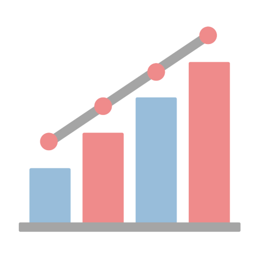 赤色と青色の上昇するグラフのイラスト