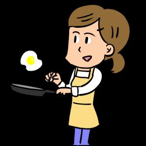 目玉焼きを作る女性のイラスト