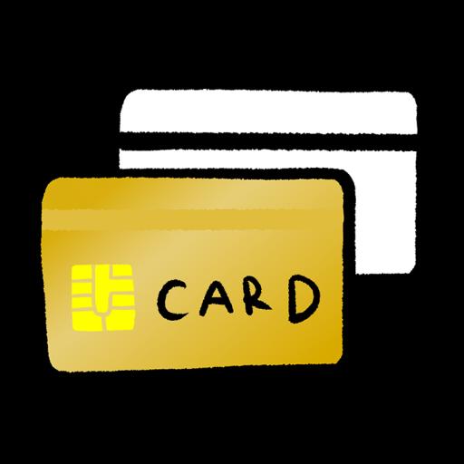 2枚重なったクレジットカードのイラスト(手描き)