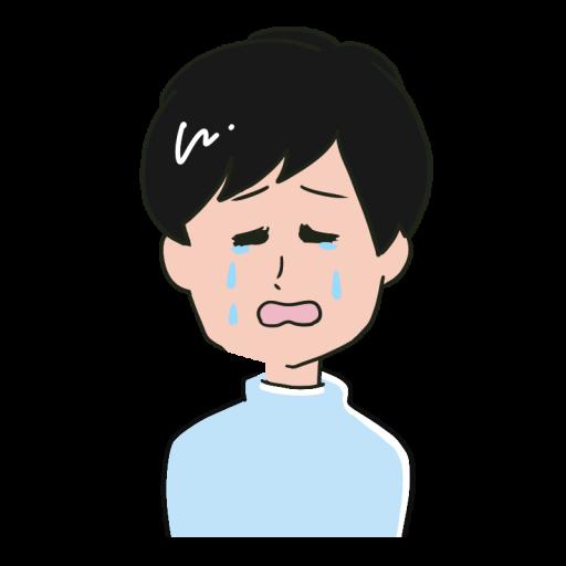 泣いている表情の若い男性のイラスト