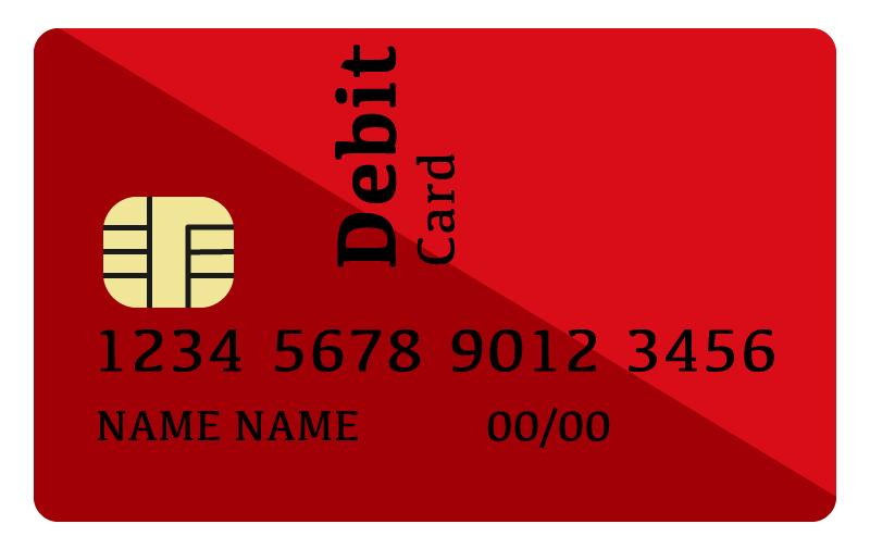 赤いデビットカードのイラスト