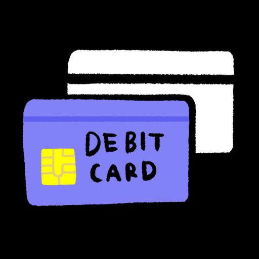 2枚重なったデビットカードのイラスト(手描き)