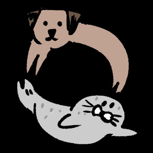 人文字「O」をする犬とアザラシのイラスト