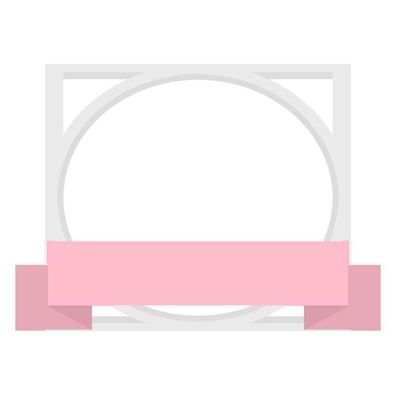ピンクの丸いリボンフレームのイラスト