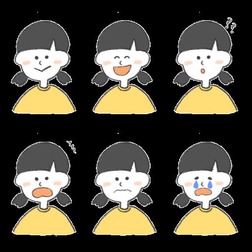 女の子のいろいろな表情をまとめたイラスト