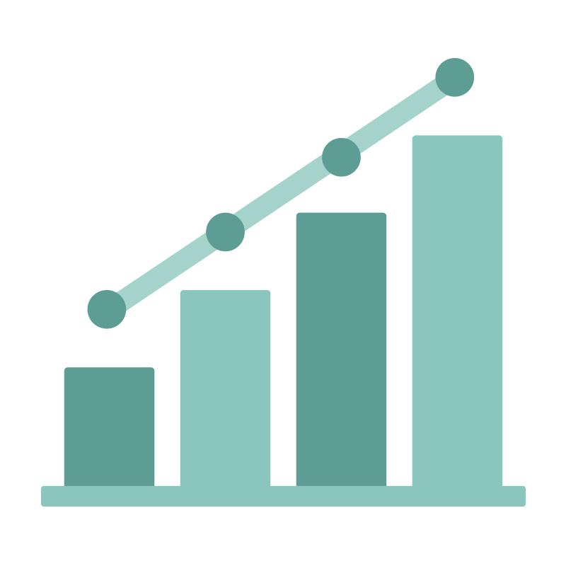 緑色の上昇するグラフのイラスト