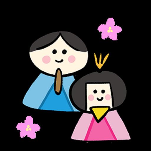 ひな祭りの親王(男雛・女雛)イラスト
