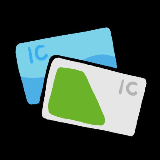 2枚重なったICカードのイラスト(手描き)