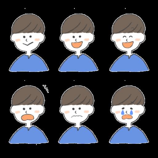 前髪を横に流している男性のいろいろな表情をまとめたイラスト