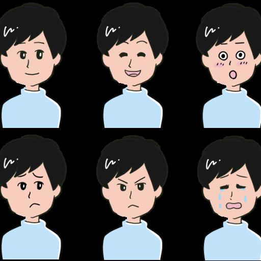 男性のいろいろな表情をまとめたイラスト