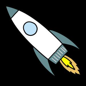 飛んでいるロケットのイラスト