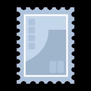 シンプルな青い切手