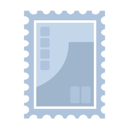 シンプルな青い切手のイラスト