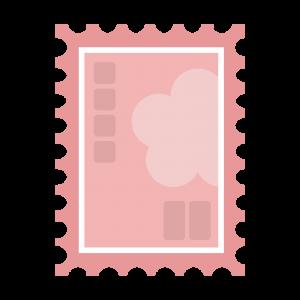 シンプルなピンクの切手