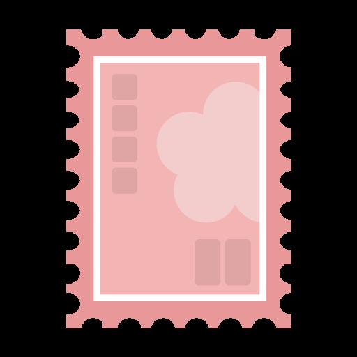 シンプルなピンクの切手のイラスト